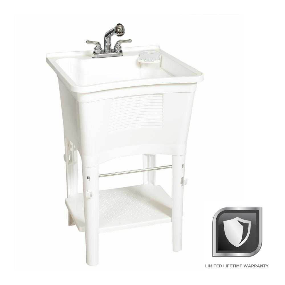 Glacier Bay All-in-One 24 in. x 24 in. 20 Gal. Freestanding Laundry Tub in White, with Non-Metallic Pull-Out Faucet in Chrome