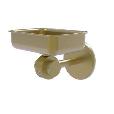 Satellite Orbit 2-Collection Wall Mounted Soap Dish with Groovy Accents in Satin Brass