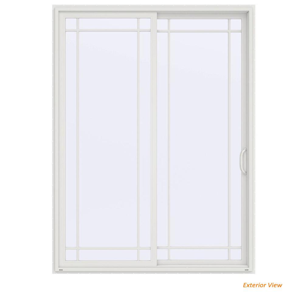 72 in. x 96 in. V-4500 Contemporary White Vinyl Right-Hand 9 Lite Sliding Patio Door