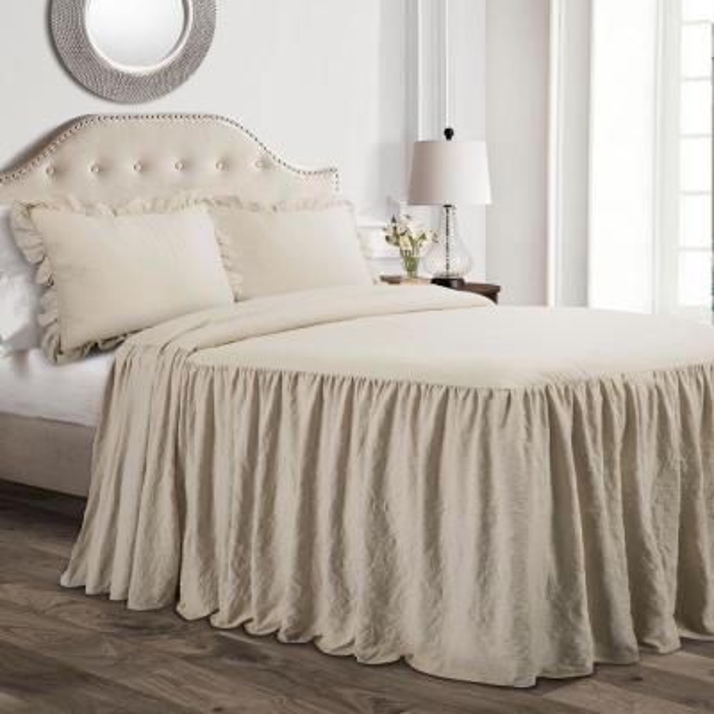 Ruffle Skirt Bedspread Neutral 2-Piece Twin Set