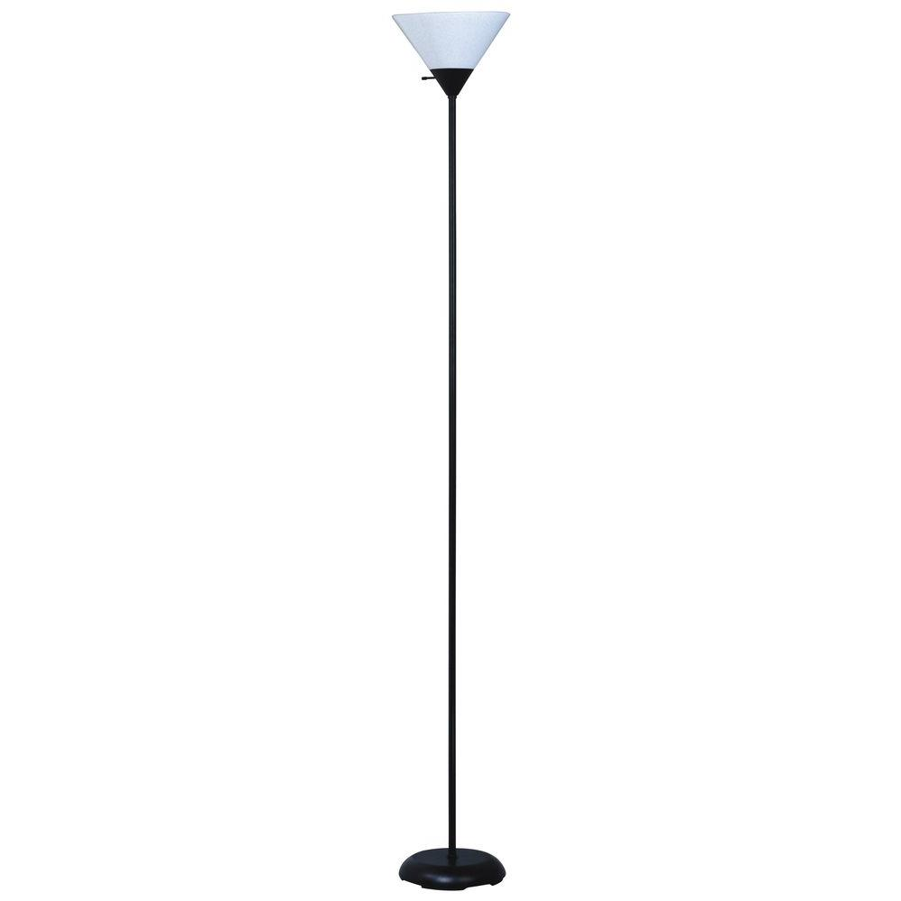 Park Madison Lighting 72 in. Torchiere Black Floor Lamp with White Shade