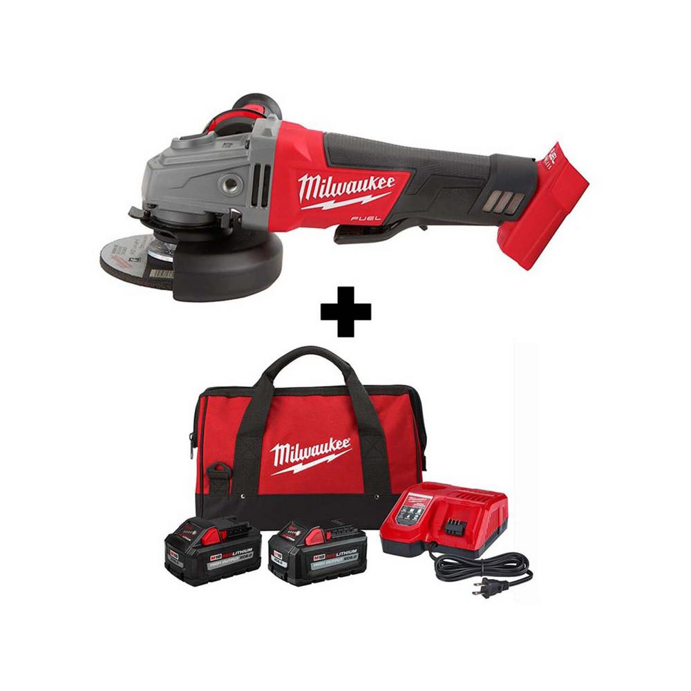 Milwaukee M18 FUEL 18-Volt Lithium-Ion Brushless Cordless 4-1/2 in./5 in. Grinder with Paddle Switch with 8.0 Ah, 6.0 Ah Battery