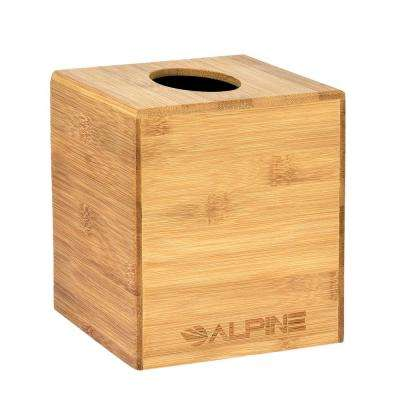 Square Cube Wood Tissue Box Cover Holder in Bamboo