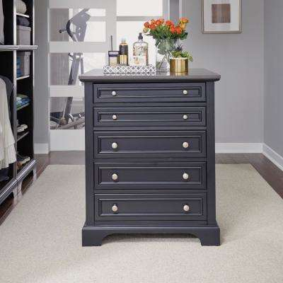 Bedford 5-Drawer Black Closet Island