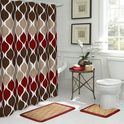 Clarisse Geometric 18 in. x 30 in. 15-Piece Bath Rug and Shower Curtain Set in Espresso