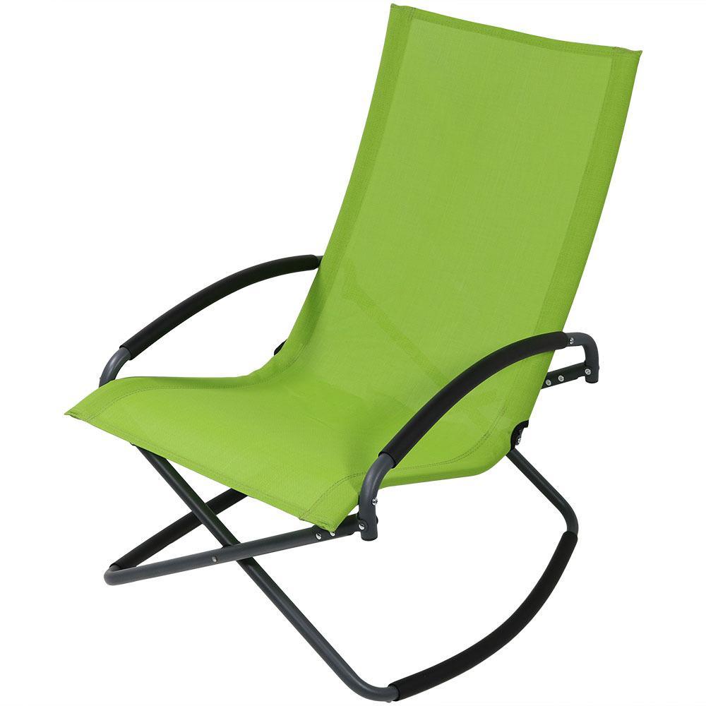 Green Folding Steel Outdoor Lounge Chair