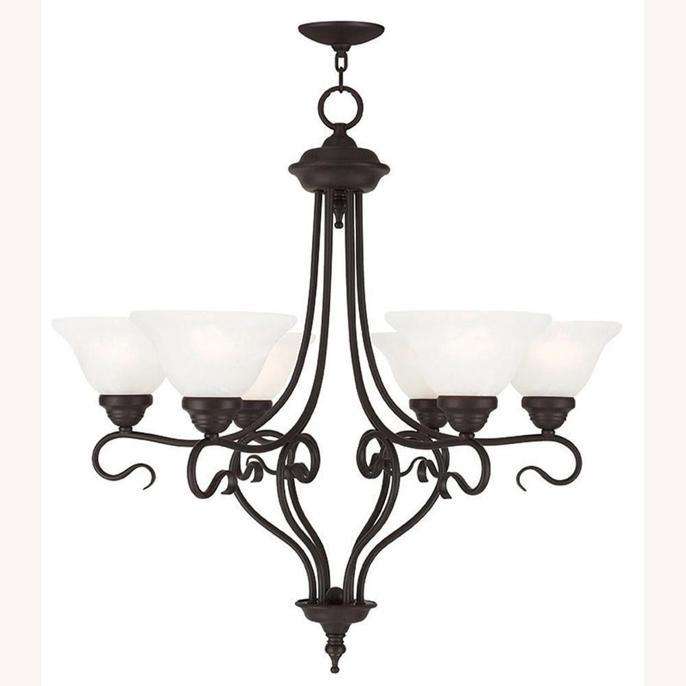 Coronado 6-Light Bronze Chandelier with White Alabaster Glass Shade