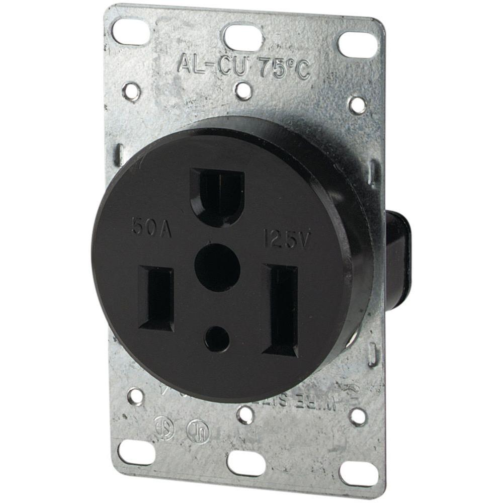 50 Amp 125-Volt 5-50R 2-Pole/3-Wire Flush Mount Power Receptacle, Black
