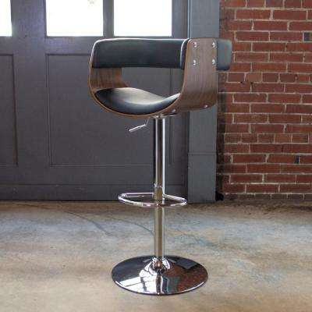 Bent Wood Adjustable Height Jet Swivel Cushioned Bar Stool