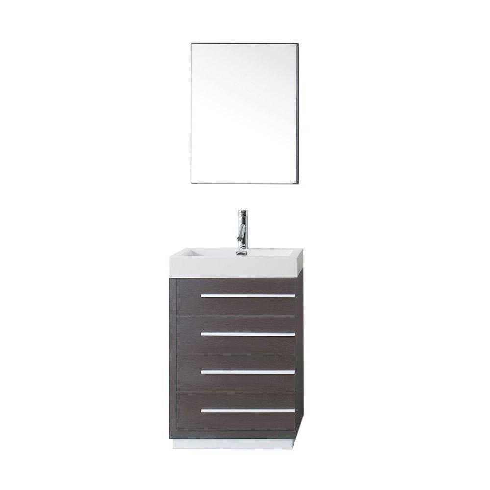 Virtu USA Bailey 24 in. W Bath Vanity in Wenge with Polymarble Vanity Top in White with Square Basin and Mirror and Faucet