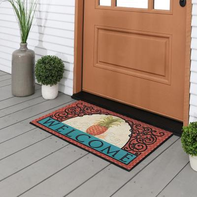 Caribbean Breeze Pineapple Tile 18 in. x 30 in. Recycled Rubber Door Mat