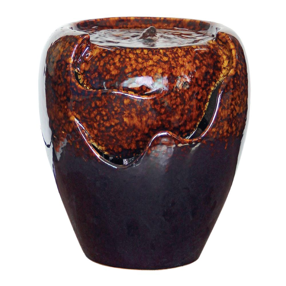 Design Toscano Burnt Umbra Ceramic Jar Ceramic Garden Fountain