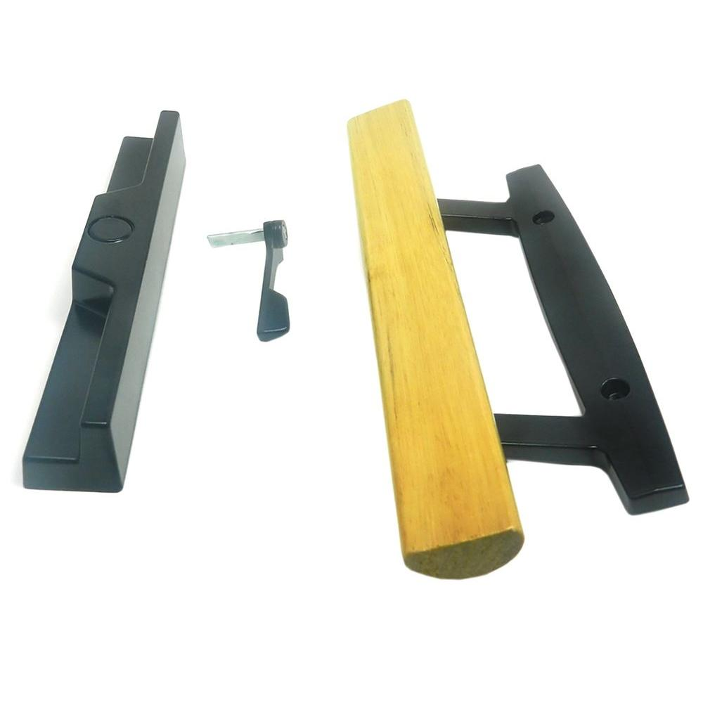 Black Surface Mount Sliding Door Handle Set