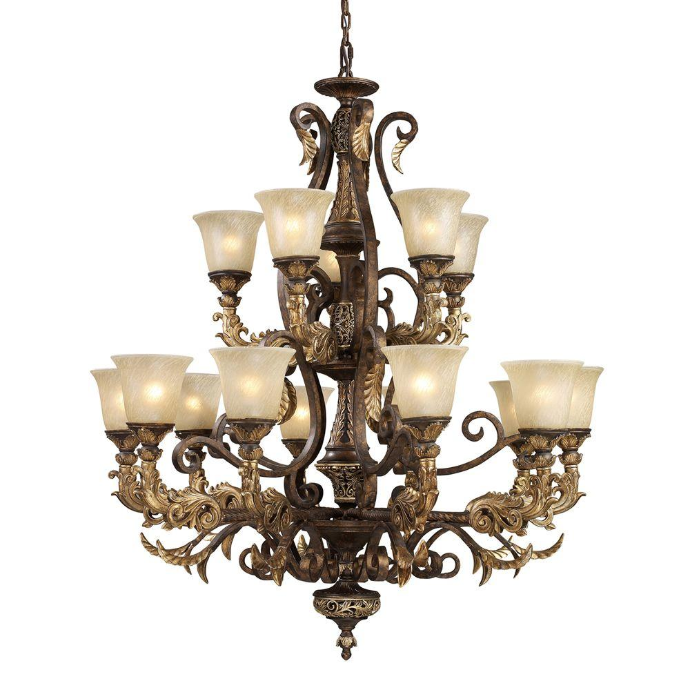 Titan Lighting Regency 15-Light Burnt Bronze Ceiling Mount Chandelier