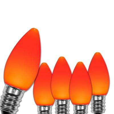 C7 LED Orange Smooth/Opaque Replacement Light Bulbs (25-Pack)