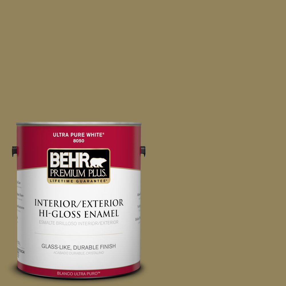 BEHR Premium Plus 1-gal. #S330-6 Dash of Oregano Hi-Gloss Enamel Interior/Exterior Paint