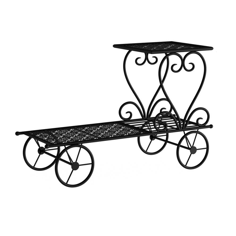 Pure Garden 2-Tier Decorative Black Metal Garden Cart and Plant Stand