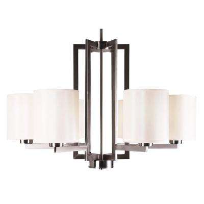 6-Light Satin Steel Chandelier with Creme Silk Fabric Shade