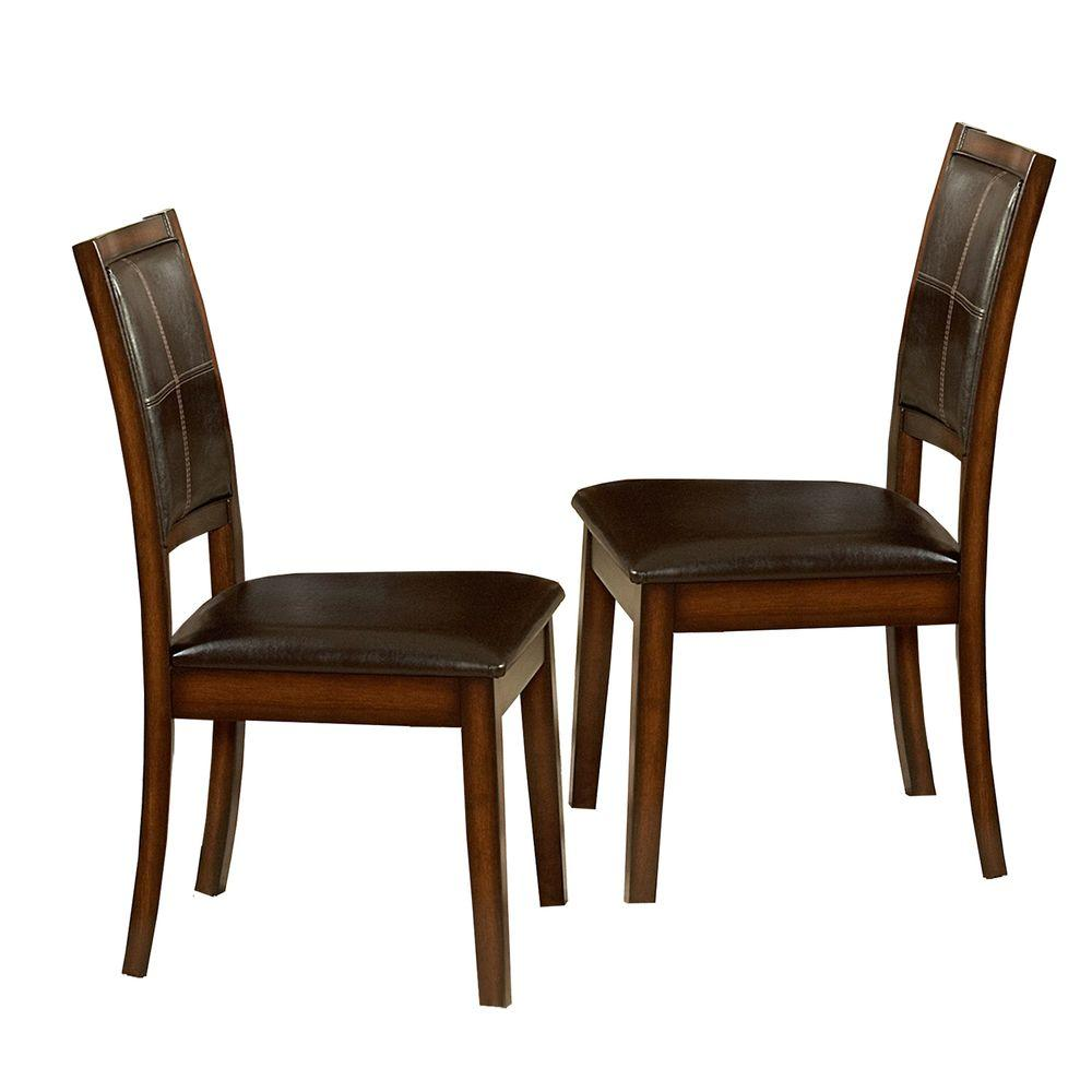 Chairs At Home Depot: HomeSullivan Dark Chocolate Faux Leather Dining Chair (Set
