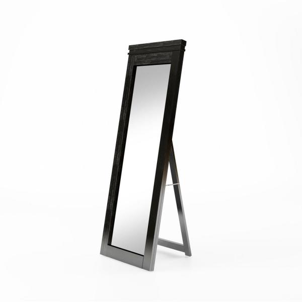 Large Rustic Black Wood Beveled Glass Rustic Mirror (60 in. H X 21.5 in. W)