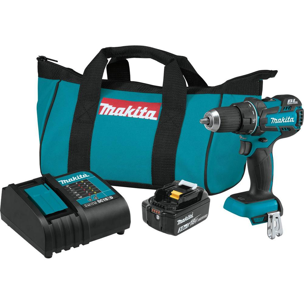 Makita 18-Volt LXT Lithium-Ion Compact Brushless Cordless 1/2 in. Driver-Drill Kit with (1) Battery 3.0Ah