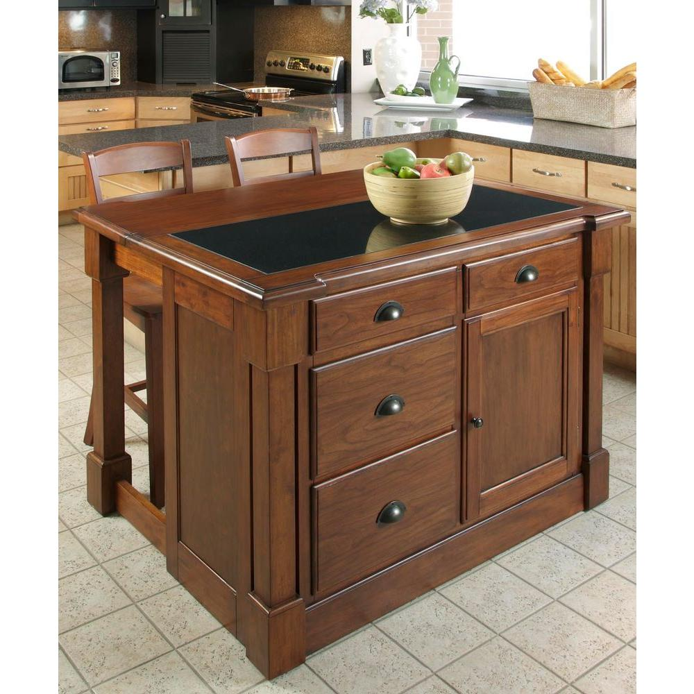 aspen rustic cherry kitchen island with granite top - Kitchen Island Home Depot