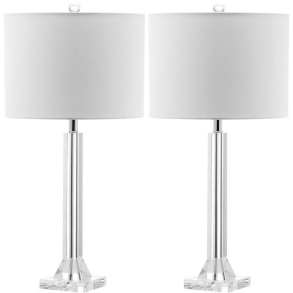 Tyrone 27 in. Clear Crystal Column Table Lamp with White Shade (Set of 2)