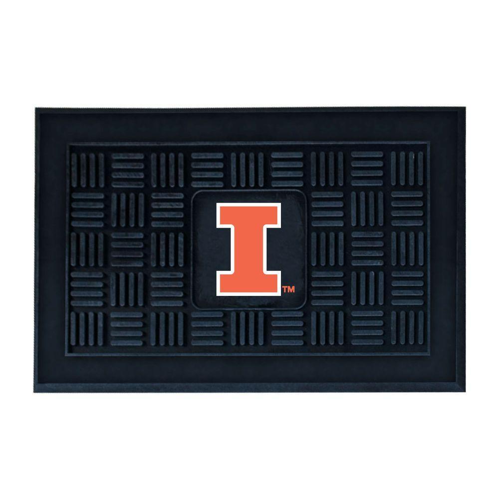 NCAA University of Illinois Black 19.5 in. x 31.25 in. Medallion Door Mat