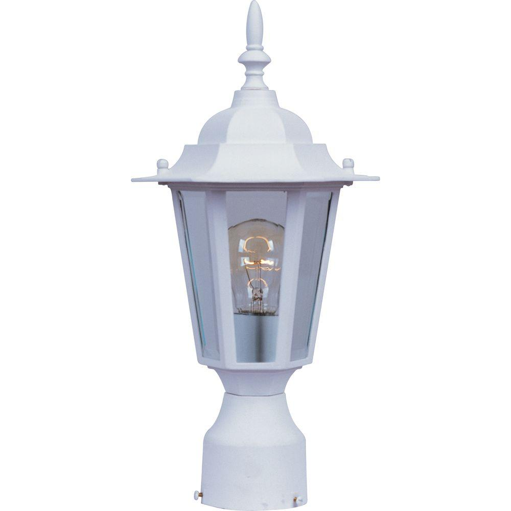 Maxim Lighting Builder Cast 1 Light White Outdoor Pole Post Mount 3001clwt The Home Depot