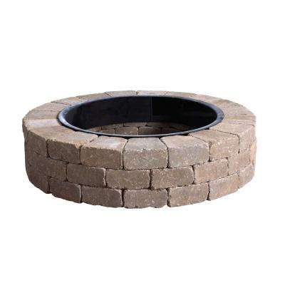 Fresco 52 in. x 12 in. Northwoods Tan Round Concrete Fire Pit Kit With Metal Liner