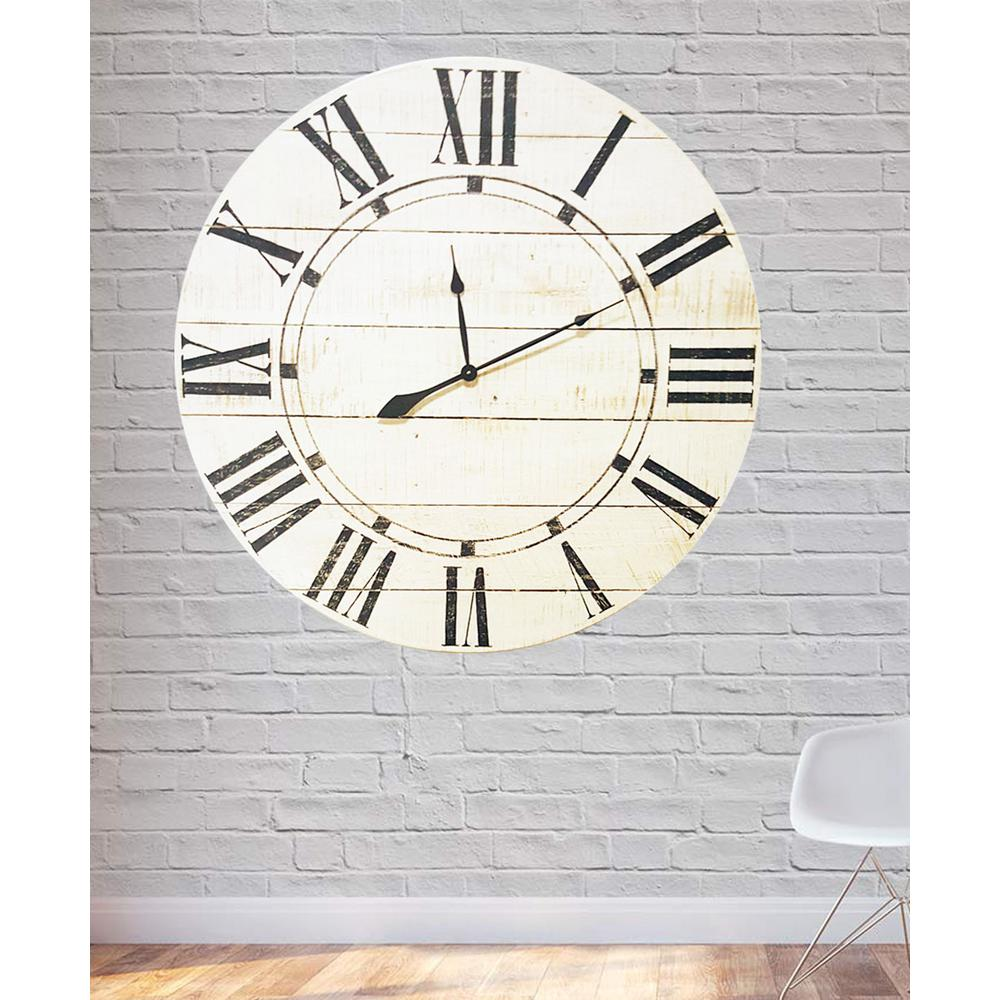 36 in. x 36 in. Vintage White Farmhouse Oversized Wall Clock