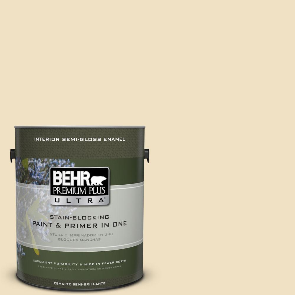 BEHR Premium Plus Ultra Home Decorators Collection 1-gal. #HDC-NT-17 New Cream Semi-Gloss Enamel Interior Paint