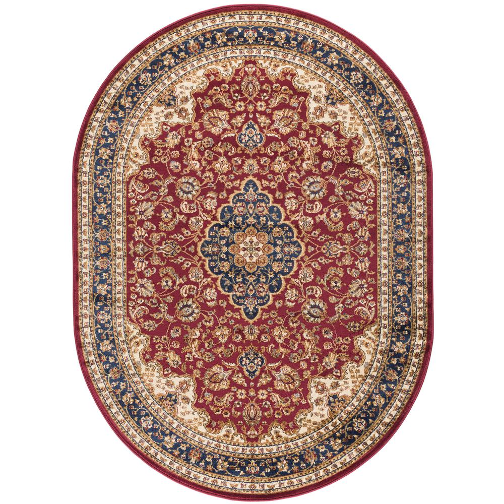 Tayse Rugs Sensation Red 6 ft. 7 in. x 9 ft. 6 in. Oval Traditional Area Rug