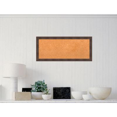 Whiskey Brown Rustic Wood 32 in. W x 14 in. H Framed Cork Board