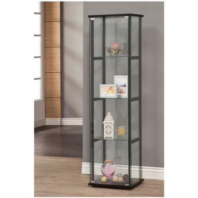 4-Shelf Glass Curio Cabinet Black and Clear