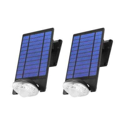 170-Lumen Motion Activated Outdoor Adjustable LED 6500K Solar Powered Flood  Light Wall Mount or Ground (2-Pack)