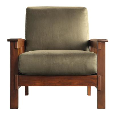Mission-Inspired Olive Microfiber Arm Chair