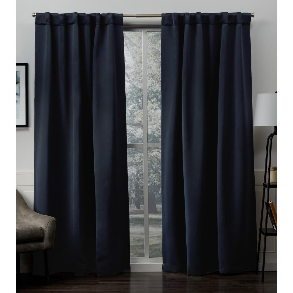 Sateen Peacoat Blue Woven Blackout Hidden Tab Top Curtain - 52