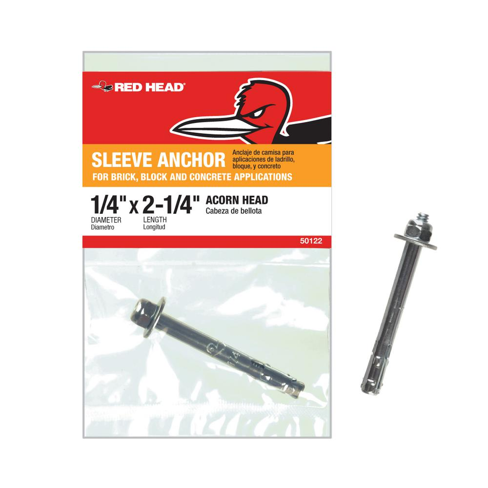 Red Head 1/4 in. x 2-1/4 in. Zinc-Plated Steel Acorn Nut Sleeve Anchor