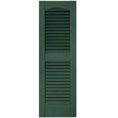12 in. x 36 in. Louvered Vinyl Exterior Shutters Pair in #028 Forest Green