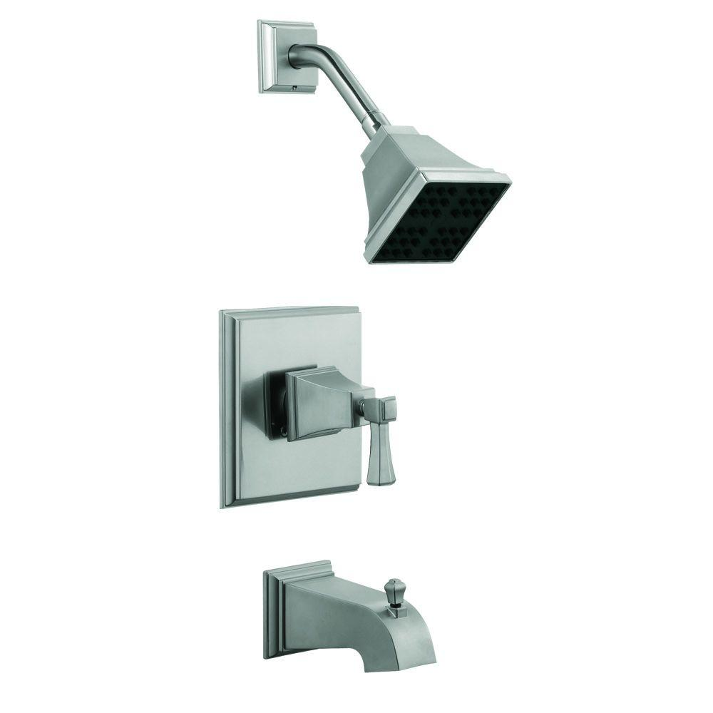 Torino 1-Handle 1-Spray Tub and Shower Faucet in Satin Nickel (Valve