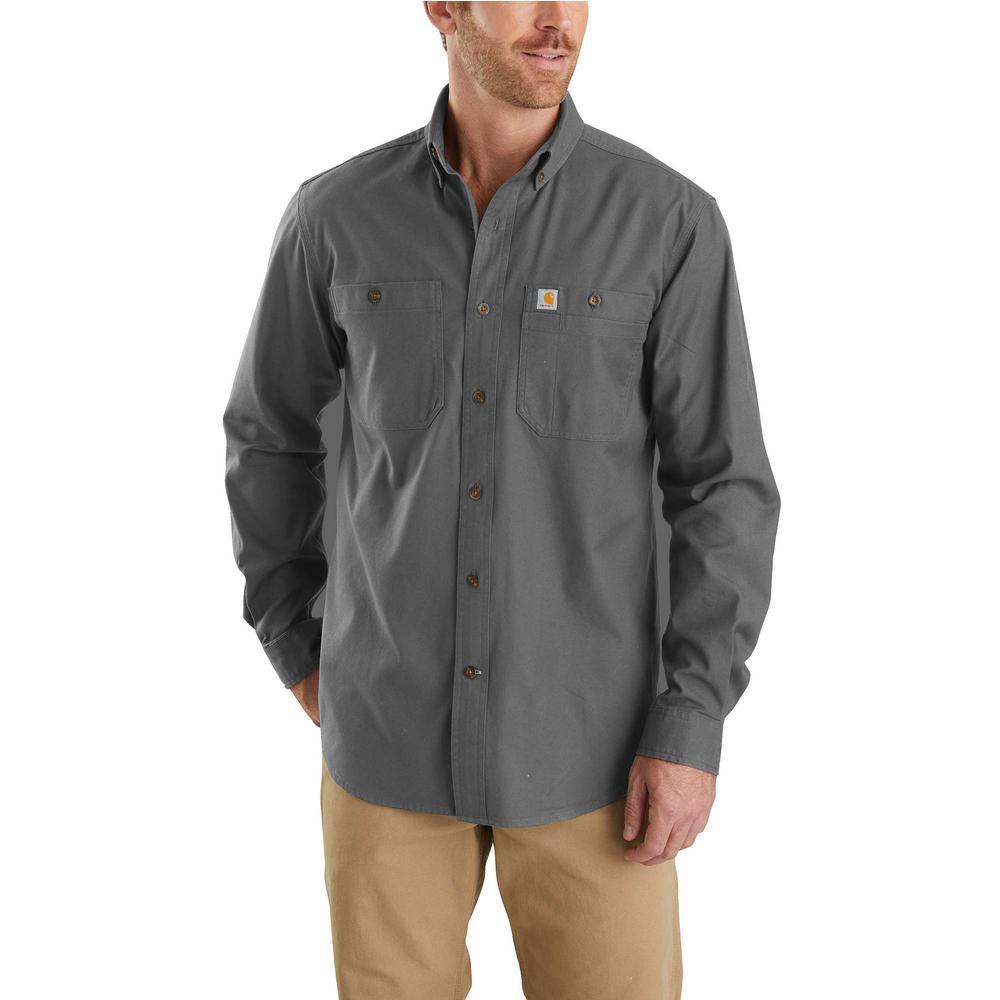 2d9c875b Men's 3X-Large Gravel Cotton/Spandex Rugged Flex Rigby Long Sleeve Work  Shirt