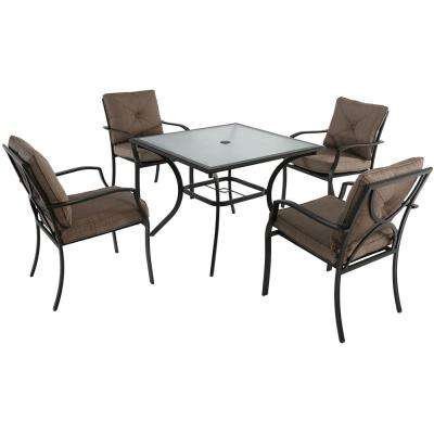 Crawford 5-Piece Steel Outdoor Dining Set with Copper Brown Cushions