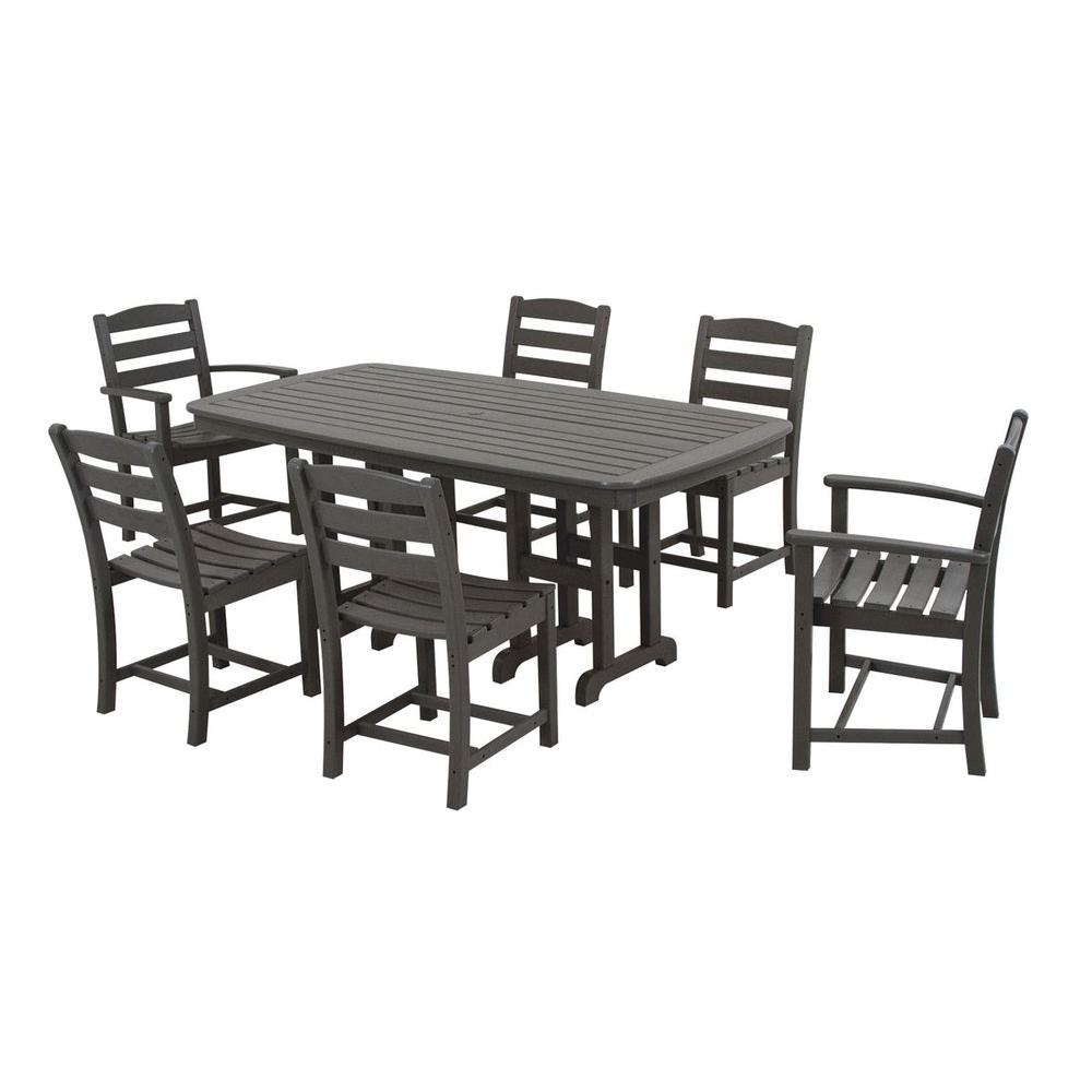 POLYWOOD La Casa Cafe Slate Grey 7-Piece Plastic Outdoor Patio Dining Set