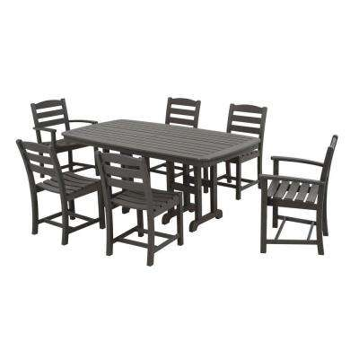 La Casa Cafe Slate Grey 7-Piece Plastic Outdoor Patio Dining Set