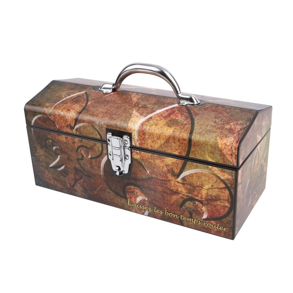 16 in. Fleur De Lis Art Tool Box, Bronze