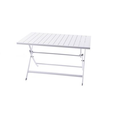 Brunch White Rectangle Aluminum Outdoor Bistro Table