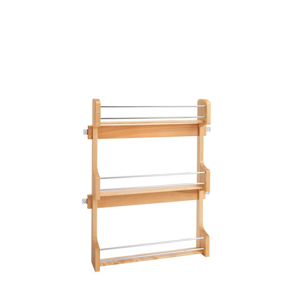 21.5 in. H x 16.5 in. W x 3.12 in. D Large Cabinet Door Mount Wood 3-Shelf Spice Rack