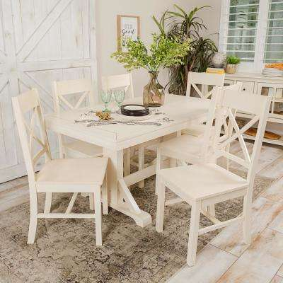 Millwright 7-Piece Antique White Wood Dining Set