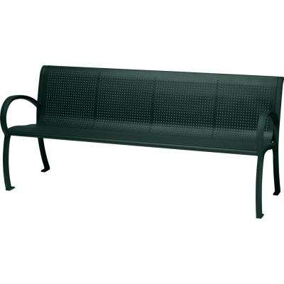 Tranquil 6 ft. Contract Patio Perforated Bench with Back in Hunter